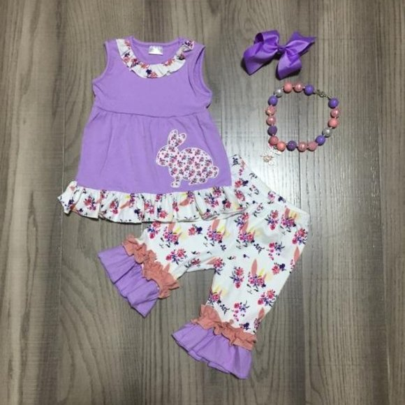 Boutique Floral Easter Bunny Girls Outfit Set